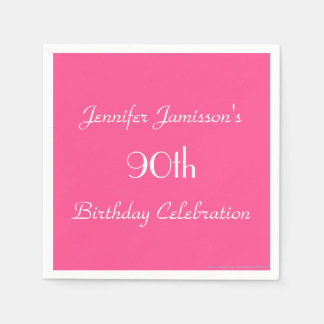Hot Pink Paper Napkins, 90th Birthday Party Disposable Napkins