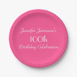 Hot Pink Paper Plates, 100th Birthday Party Paper Plate