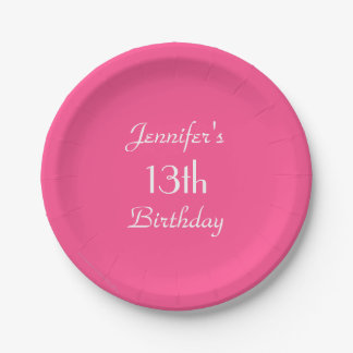 Hot Pink Paper Plates, 13th Birthday Party Paper Plate