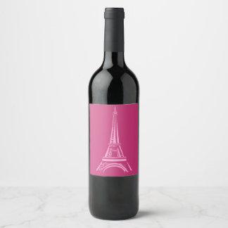 Hot Pink Paris Eiffel Tower Wine Label