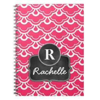 Hot Pink Pattern Chalkboard Monogram Spiral Notebook