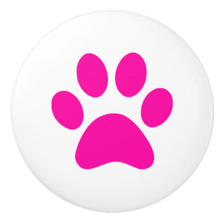 Hot Pink Paw Print - puppy dog cat or other animal Ceramic Knob