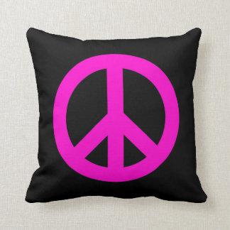 Hot Pink Peace Sign Throw Pillow