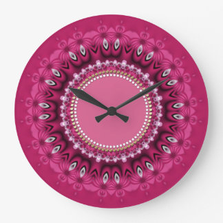 Hot Pink Peacock Lace Mandala Wall Clock