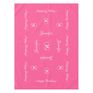 Hot Pink Personalized 50th Birthday Table Cloth