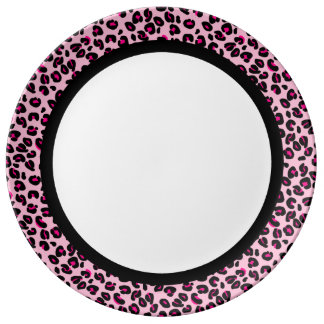 Hot Pink & Pink Leopard with Black Band on White Plate