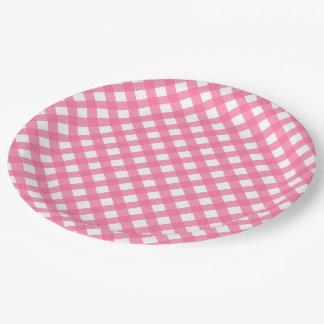 Hot Pink Plaid Paper Plates