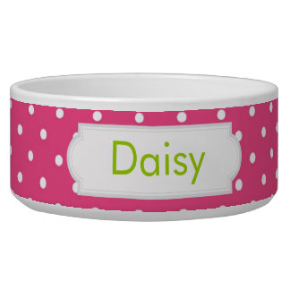 Hot Pink Polka Dot Dog Water Bowls