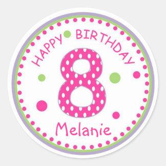 Hot Pink Polka Dot Happy Birthday Number 8 Round Sticker