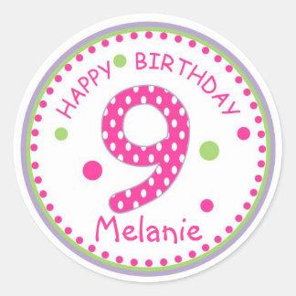 Hot Pink Polka Dot Happy Birthday Number 9 Round Sticker