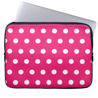 Hot Pink Polka Dot Laptop Sleeve