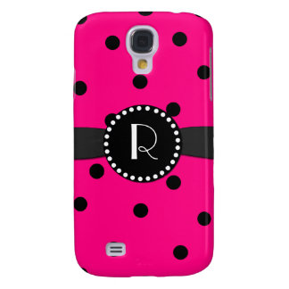 Hot Pink Polka Dot Monogram Samsung Galaxy S4