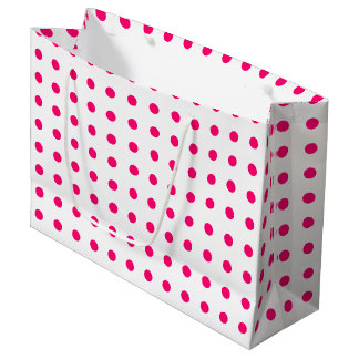 Hot Pink Polka Dots Large Gift Bag