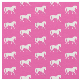 Hot Pink Pony Fabric, Bright Pony Fabric, Horse Fabric