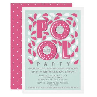 Hot Pink Pool Party Splash Birthday Invitation