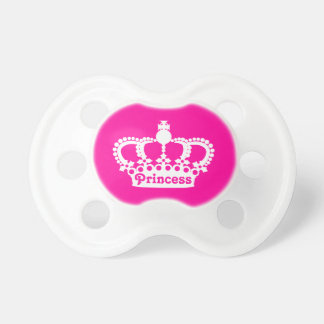 Hot pink princess crown baby pacifiers