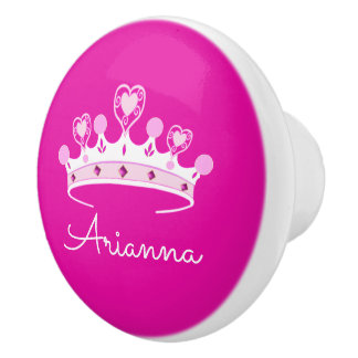 Hot Pink Princess Crown Custom Personalized Ceramic Knob