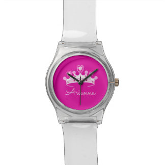 Hot Pink Princess Crown Custom Personalized Watch