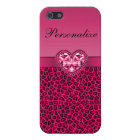 Hot Pink Printed Bling Heart & Leopard Pattern Case For iPhone 5/5S
