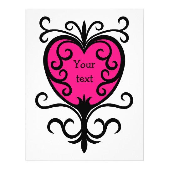 Hot pink punk girly girl ornate heart full colour flyer