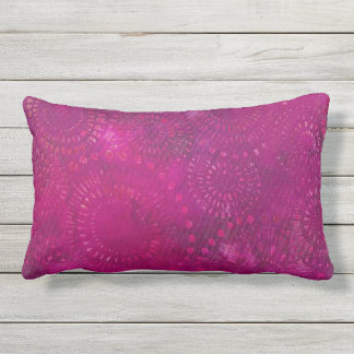 Hot Pink Purple Bohemian Batik Pattern Design Outdoor Pillow