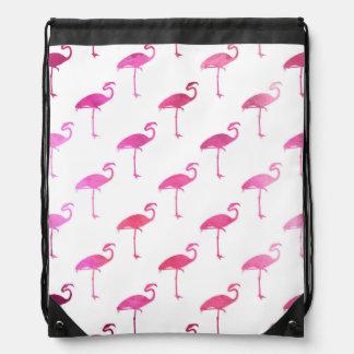 Hot Pink Purple Flamingo Watercolor Tropical Drawstring Bag