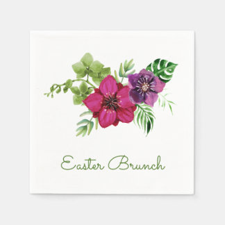 Hot Pink Purple Floral Easter Brunch Paper Napkins