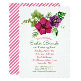 Hot Pink Purple Floral Easter Brunch Party Card