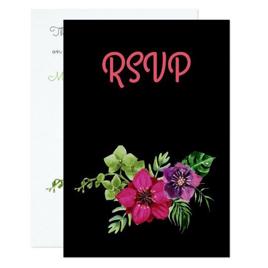 Hot Pink Purple Green Floral RSVP Card