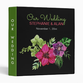 Hot Pink Purple Green Floral Wedding Binder