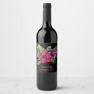 Hot Pink Purple Green Floral Wedding Wine Label
