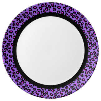 Hot Pink & Purple Leopard with Black Band on White Plate
