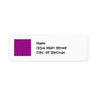 Hot Pink Purple Starburst Sun Rays Tunnel View Return Address Label