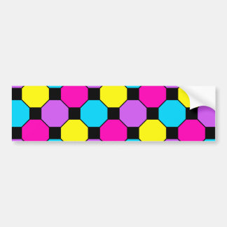 Hot Pink Purple Teal Yellow Black Squares Hexagons Bumper Sticker