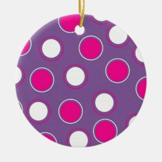 Hot Pink Purple White Polka Dots Concentric Circle Round Ceramic Ornament