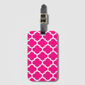Hot Pink Quatrefoil Baggage Labels Luggage Tag