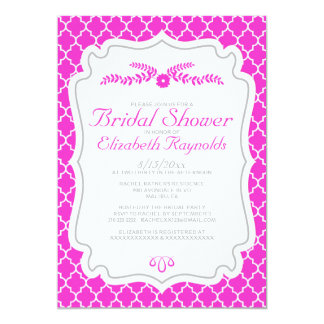 Hot Pink Quatrefoil Bridal Shower Invitations