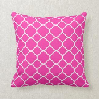 Hot Pink Quatrefoil Girly Modern Throw Pillow
