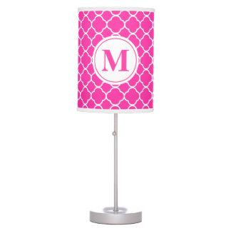 Hot Pink Quatrefoil Girly Monogram Table Lamp