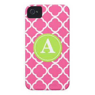 Hot Pink Quatrefoil Lime Monogram iPhone 4 Covers