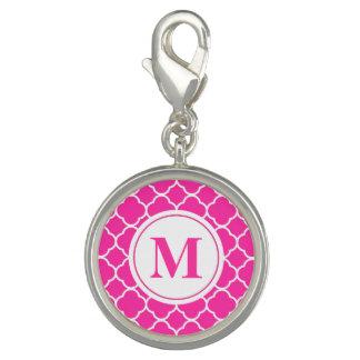 Hot Pink Quatrefoil Monogram Initial Letter Charm