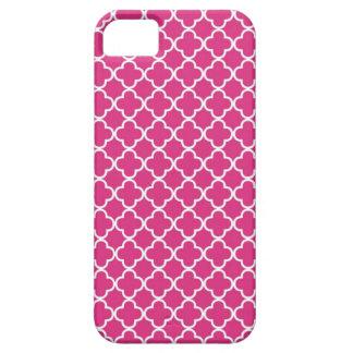 Hot Pink Quatrefoil Pattern iPhone 5 Cover