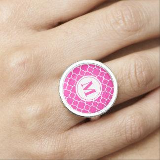 Hot Pink Quatrefoil Pattern Monogram Letter Ring