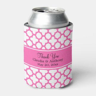 Hot Pink Quatrefoil Pattern Wedding Thank You Can Cooler