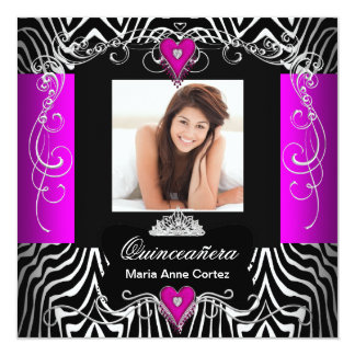 "Hot Pink Quinceanera 15th Birthday Zebra Photo 5.25"" Square Invitation Card"