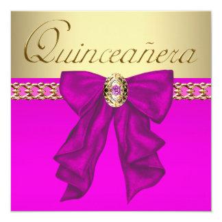 "Hot Pink Quinceanera 5.25"" Square Invitation Card"