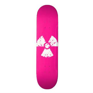 Hot Pink Radioactive sign Custom Skateboard