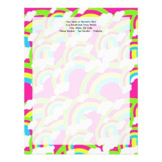 Hot Pink Rainbow Pattern Letterhead