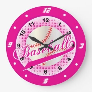 Hot Pink Retro Baseball Style Wallclock