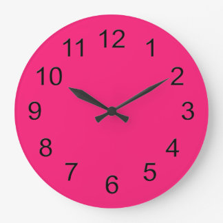 Hot Pink Retro Colorful Modern Solid Color Large Clock